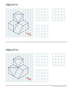 Resultado de imagen para isometric drawing exercises for kids Isometric Sketch, Isometric Art, Geometric Drawing, Geometric Shapes, Isometric Drawing Exercises, Interesting Drawings, Drawing Activities, Technical Drawing, Elements Of Art