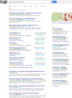 "Infront client American Electrician ranking first pages of Google under term ""Colorado Springs Electricians""."