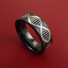 Black Zirconium Wide DNA Strand Ring Custom made Band Any Finish and S – Stonebrook Jewelry