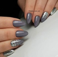 Two tone nails are very popular nowadays. You must have seen many models and celebrities show off beautiful manicured nails with the coolest two tone nail designs on them. As the name suggests, two tone nails art means that the wearer uses two differ Nail Polish, Shellac Nails, Grey Gel Nails, Grey Nail Art, Black Nails, Gel Manicures, Glitter Gel Nails, Sparkle Nails, Silver Glitter