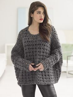"""Image of Popover Top Thick and Quick yarn (9 balls, N hook SIZE: One Size; Finished Bust About 74""""; Finished Length About 28"""""""