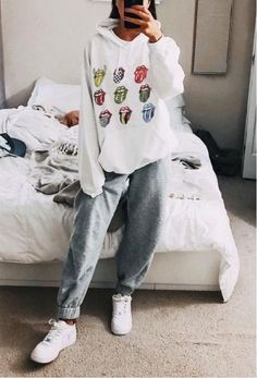Brief Printed Colour Pocket Sweatshirt Brief Printed Colour Po. - Brief Printed Colour Pocket Sweatshirt Brief Printed Colour Pocket Sweatshirt – - Cute Lazy Outfits, Casual School Outfits, Teenage Outfits, Chill Outfits, Teen Fashion Outfits, Outfits For Teens, Trendy Outfits, Casual Comfy Outfits, Work Outfits