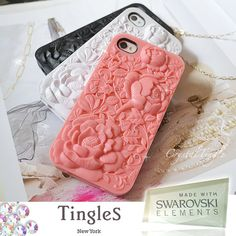 Beautiful 3D Design Victorian Rose Sculpture Hard Case Dust Stopper iPhone 4S Made with Swarovski Crystal Diamond. $19.95, via Etsy.