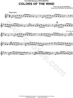 Inspirational Colors Of the Wind Violin Sheet Music