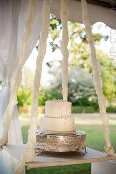 Neat idea for a wedding cake-hang the table from above