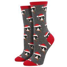 588e33243e7 Women s Crew Socks Holiday Christmas Santa Cats. Cool ...
