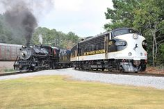 Here's a shot of the Southern #630 and the Norfolk Southern F-Units on the wye track at the Tennessee Valley Railroad Museum in Chattanooga, Tn.