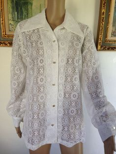 Vtg LACE CUTOUT CROCHET BLOUSE TOP SHIRT L XL 15 / 16 White BOHO Hippie SEXY #DonovanGalvani