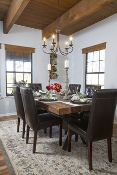 HGTV Fixer Upper - Dining room - LOVE that ceiling
