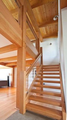 A signature West Coast contemporary design, this modern hybrid timber frame home is as beautiful to look at as it is to live in. Timber Stair, Timber House, Stair Treads, Barn House Plans, Craftsman Style House Plans, Rustic Home Design, Modern House Design, Contemporary Style Homes, Contemporary Design
