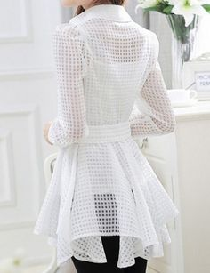 Stylish Turn-Down Collar See-Through Lace-Up Long Sleeve Blouse For Women BLANCO Elegante cuello vuelto Blusa transparente de manga larga con cordones para mujer M Casual Dresses, Fashion Dresses, Cotton Blouses, Women's Blouses, Ladies Dress Design, Skirt Outfits, Blouse Designs, Blouses For Women, Collars For Women