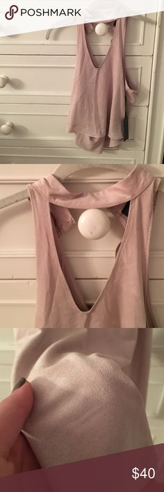 TAN SUADE COLLAR SHIRT Super soft with deep V cut and collar attached. Clasps in the back Lulu's Tops Blouses