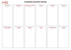 Facebook Content Matrix from the NET:101 Advanced Facebook Marketing for Business course in Melbourne, Sydney, Brisbane and Perth, Australia #facebook #facebookmarketing #facebookadvertising