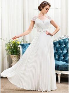 A-Linie/Princess-Linie Herzausschnitt Bodenlang Chiffon Spitze Brautkleid mit Perlen verziert Blumen Pailletten Gefaltet
