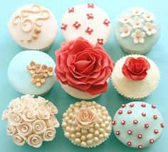 Coral, Tiffany Blue, and White cupcakes