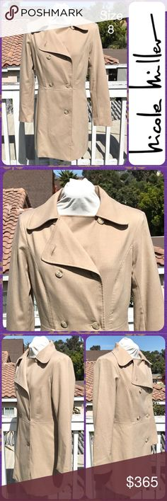 "Ladies Cafe au Lait Long Double-Breasted Coat Sz 8 Lightweight Double Breasted Coat from Nicole Miller in a cafe au lait color (light brown). This jacket has a fine herringbone weave throughout. Lightly padded shoulders. Long length. No pockets. Tapered waist for a tailored fit. Lined. Ladies Size 8 / Medium. Chest: 19.5"" across. Length: 33"". In Beautiful Condition but has a 2"" stain on inside hem (not visible when worn- see pics). Nicole by Nicole Miller Jackets & Coats"