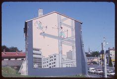 Een tekening van Joost Swarte op een kale muur in het Franse Vaise anno 1985.