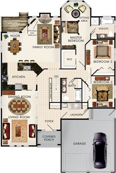 Silver Maple Floor Plan. Love this but I don't really need/want a dining room. And I would like to move the linen closet in the master to the main bathroom and the double sinks to the master bathroom.