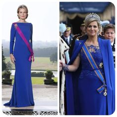 Royal blue seems to be the color of choice for these two new queens--Queen Mathilde of Belgium and Queen Maxima of The Netherlands. Very regal!