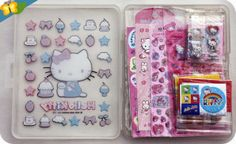 Ma boite Hello Kitty pour ranger ma collection de stickers kawaii