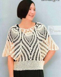 Crochet Shirt Crochet cape or blouse Crochet cape or blouse free pattern. Crochet Cape, Black Crochet Dress, Crochet Cardigan, Crochet Shawl, Crochet Bodycon Dresses, Crochet Skirts, Sewing Clothes, Crochet Clothes, Pineapple Crochet
