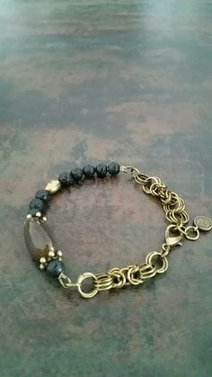 Black Agate&Lava&Brass with Byzantine chainmaille