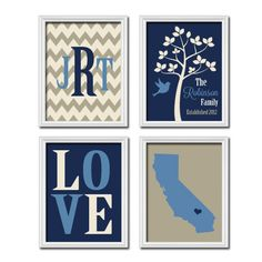 Beige Navy Custom Family Chevron Monogram State LOVE Bird Tree Established Date Print Artwork Set of 4 Prints