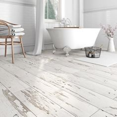 Pennsylvania waterproof vinyl flooring. Perfect for DIY enthusiasts and novices alike, this durable flooring can be laid in a matter of minutes with no need for a professional fitter. Featuring an unfinished, white wood effect, it's perfect for traditional and shabby chic interiors