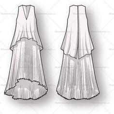 Women's Pleated Dress Fashion Flat Template