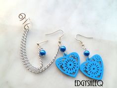Ear Cuff Ear Wrap Pair with Hearts Blue Glass Pearls by EdgYSheeQ, $12.50