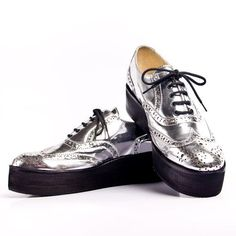 silver oxford shoes | Mirror silver oxford creepers shoes FREE WORLDWIDE by goodbyefolk, $ ...