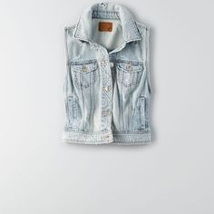 AEO Denim Vest ($50) ❤ liked on Polyvore featuring outerwear, vests, light destroy wash, denim waistcoat, denim vest, vest waistcoat and american eagle outfitters