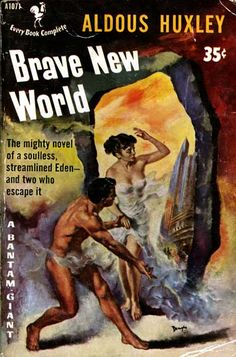"""Brave New World by Aldous Huxley -     With a revolutionary and controversial view of the future, Huxley's satiric take on the """"utopia"""" of tomorrow has provoked reader's thoughts for decades. Depictions of genetically enhanced embryos predisposed to a specific social class cast warning signs for technological interference with human life."""