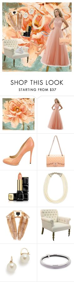 """""""Peaches And Cream"""" by jeanstapley ❤ liked on Polyvore featuring Morrell Maxie, B Brian Atwood, Guerlain, Heidi Daus, Unreal Fur, Kate Spade and Alexis Bittar"""
