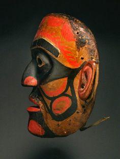 Bella Bella Ceremonial Mask, Pacific Northwest Coast Native American Indian Art