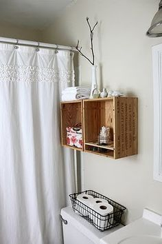 DIY Wine Crate Storage Projects – Decorating Your Small Space Crate Shelves, Box Shelves, Crate Storage, Storage Boxes, Record Storage, Wall Storage, Shelving, Toilet Storage, Bathroom Storage