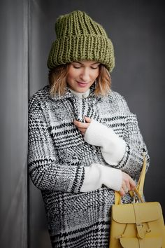 Choies Plaid coat and army green beanie in winter outfit ideas - Ellena Galant Girl