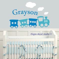 Train Name Decal Boys Room Decal Kids Room by iSignsDecalStudio
