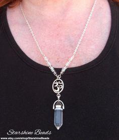 Quartz Om Necklace  Quartz Crystal Necklace by StarshineBeads