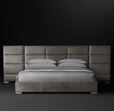 Rectangular Channel Extended-Headboard Leather Platform Bed