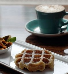 Waffles with lavender milk chocolate sauce and lavender latte from Medina Cafe in Vancouver, BC.