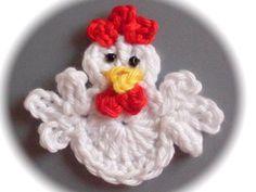 Häkelapplikationen - pequeño, Gallito, Pollo, Cobarde de croché Aplicación de un Diseño de. Crochet Applique Patterns Free, Crochet Motifs, Granny Square Crochet Pattern, Crochet Blanket Patterns, Crochet Doilies, Crochet Flowers, Easter Crochet, Crochet Crafts, Yarn Crafts