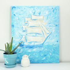 Nautical blue ship original acrylic painting by HelloMondayDesign