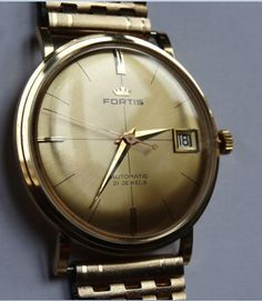Fortis Swiss watch 60's automatic solid gold