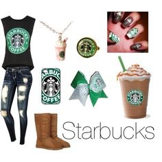 """Starbucks!!"" by jahsonnadixon on Polyvore STARBUCKS the best coffee in the WORLD!!! :D :D Tru Teen!! :D <3"