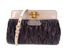 MiuMiu Pochette MATELASSE bag in Cordovan+Mughetto RP0328