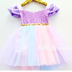 This tutu romper and dress with a pastel full tutu is a must have. Beautiful Pastel Full Tutu with sequin bodice and satin flutter sleeves. The sequin top is a halter. Unicorn Outfit, Unicorn Costume, Unicorn Birthday Parties, Unicorn Party, Baby Unicorn, Birthday Crafts, Frozen Birthday, Toddler Fashion, Girl Fashion