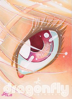"""#81 """"In the eye""""  Illustration, Copic Art, Comic, Manga, ACEO Card / Kakao-Karte by Dragonfly Artworks"""