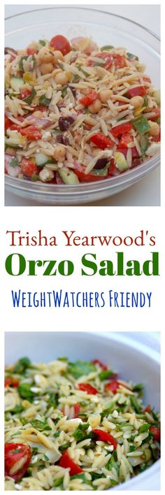 Look Over This Trisha Yearwood's Orzo Salad made Weight Watchers friendly – so easy and delicious! The post Trisha Yearwood's Orzo Salad made Weight Watchers friendly – so easy and del… appeared first on Emmy's Designs . Orzo Salad Recipes, Salad Recipes For Dinner, Pasta Recipes, Cooking Recipes, Ww Recipes, Orzo Salat, Weight Watchers Pasta, Vegetarian Recipes, Healthy Recipes