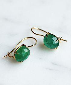 Tumble cut emerald earrings...beautiful.